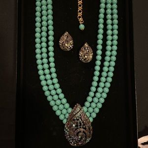 Heidi Daus Beaded Necklace and Teardrop Earrings